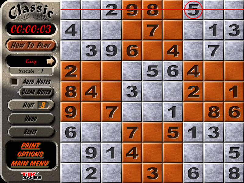 Sudoku Puzzle Solution - Crosshatching 2