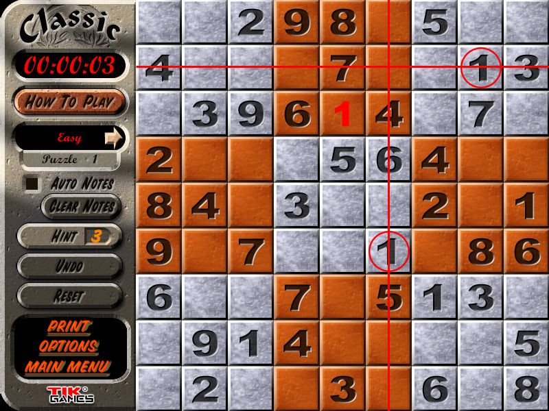 Sudoku Puzzle Solution - Crosshatching 6