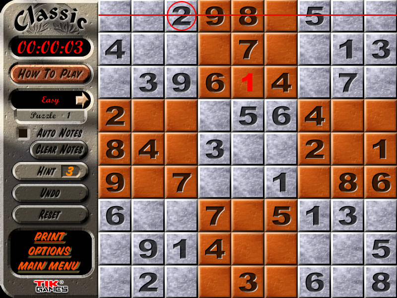 Sudoku Puzzle Solution - Crosshatching 7