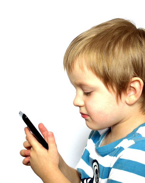 child playing with phone