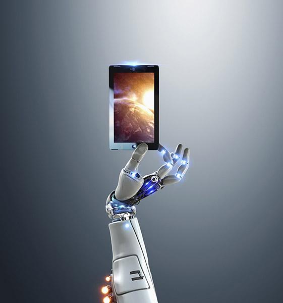 Robot hand holding digital tablet