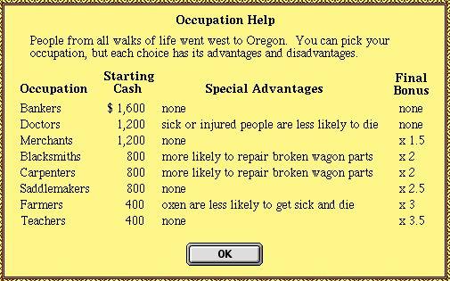 Oregon Trail Occupations