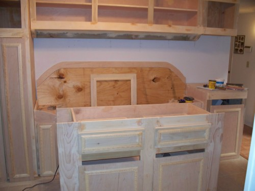 Kitchen woodworking with island