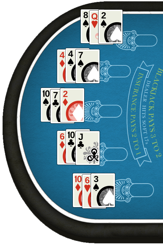 A table where all players have been dealt three cards.