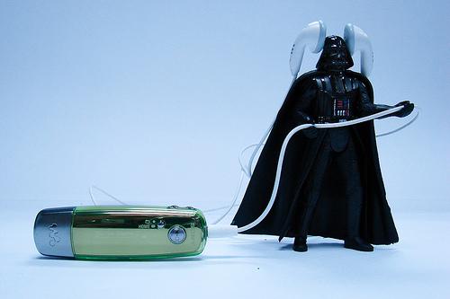 Darth Vader listening to music