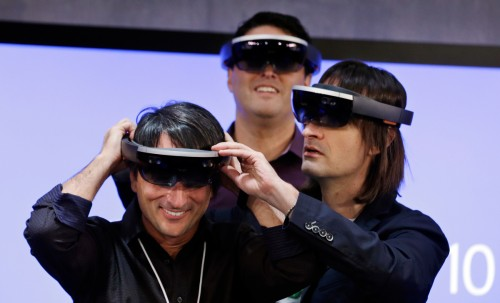 HoloLens being tried on by Microsoft executives