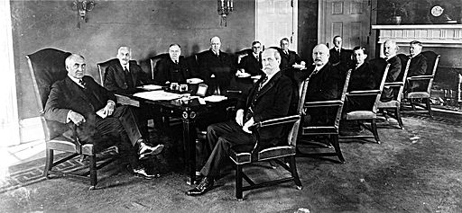 Warren G Harding and his first cabinet in 1921. Image courtesy Wikimedia Commons via Library of Congress.