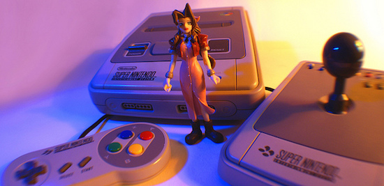 Aeris with a Super Nintendo Entertainment System