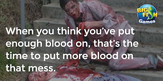 Blood on zombie clothing