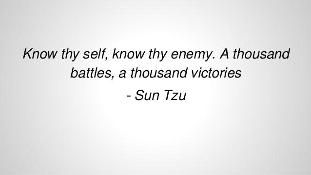 Know thyself know thy enemy
