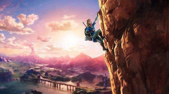 Zelda: Breath of the Wild Link climbing
