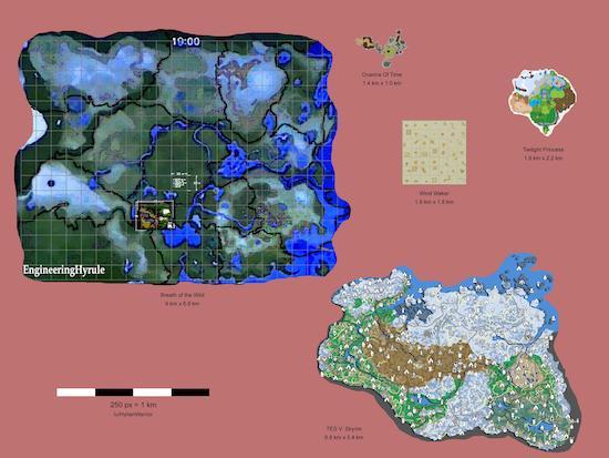 Zelda: Breath of the Wild relative map size