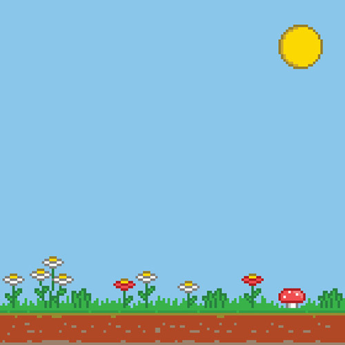 Pixel 8 bit game background. Vector sunny day.
